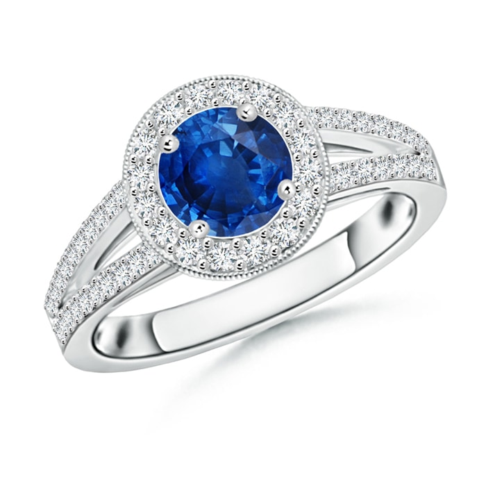 Round Blue Sapphire Split Shank Ring with Diamond Halo - Angara.com