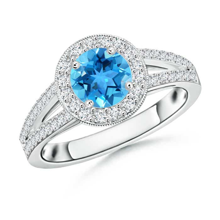 Round Swiss Blue Topaz Split Shank Ring with Diamond Halo - Angara.com