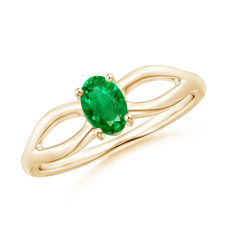 Angara Natural Emerald Ring in 14k Yellow Gold MQmlUDQB