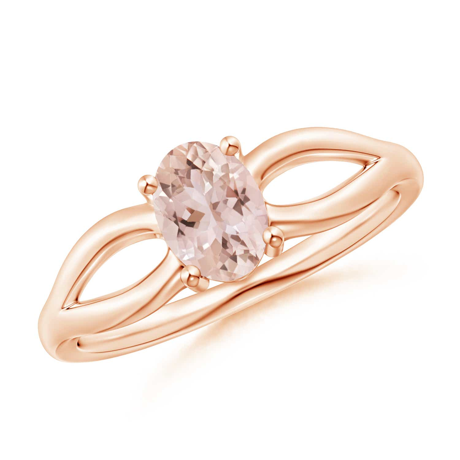 Prong-Set Solitaire Morganite Split Shank Ring - Angara.com