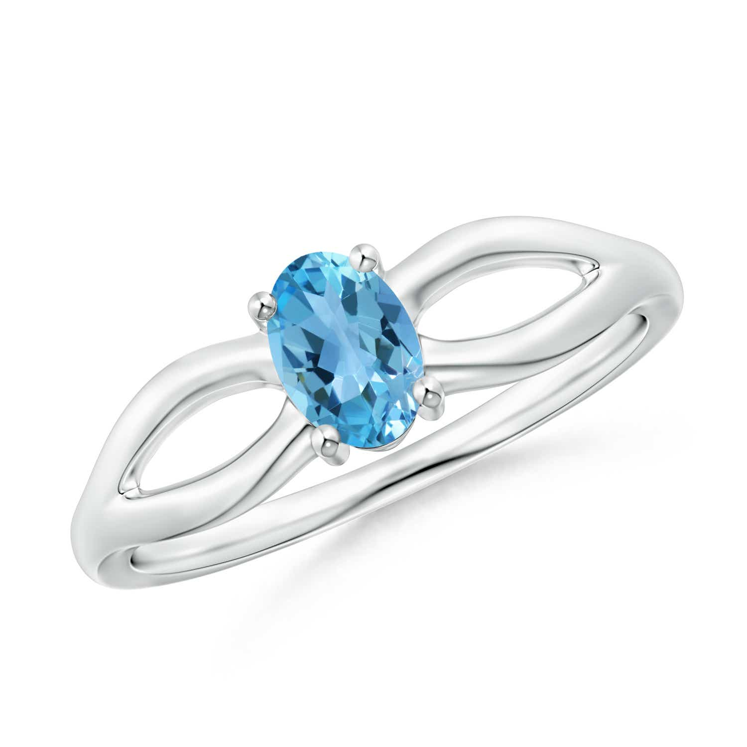 Angara Prong-Set Solitaire Swiss Blue Topaz Split Shank Ring Rfu3Z14uex