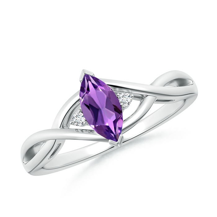 Criss-Cross Marquise Amethyst Solitaire Ring with Diamonds - Angara.com