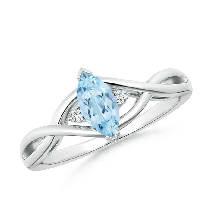Criss-Cross Marquise Aquamarine Solitaire Ring with Diamonds - Angara.com