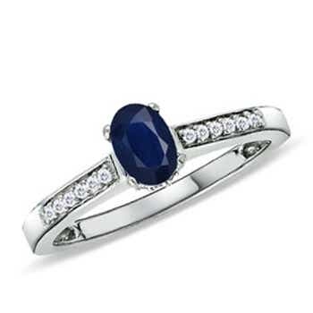 Solitaire Oval Blue Sapphire Ring with Diamond Accent - Angara.com