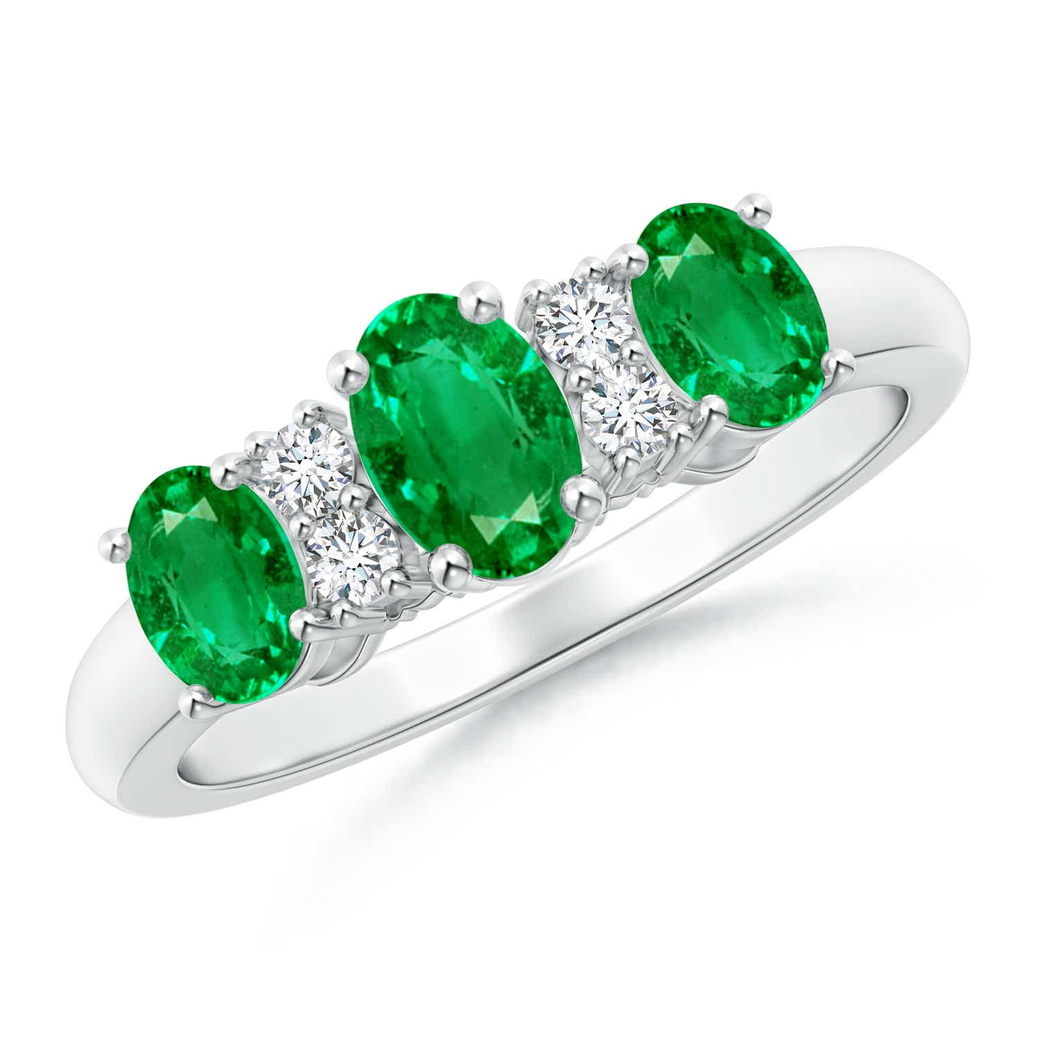 Oval Three Stone Emerald Engagement Ring With Diamonds