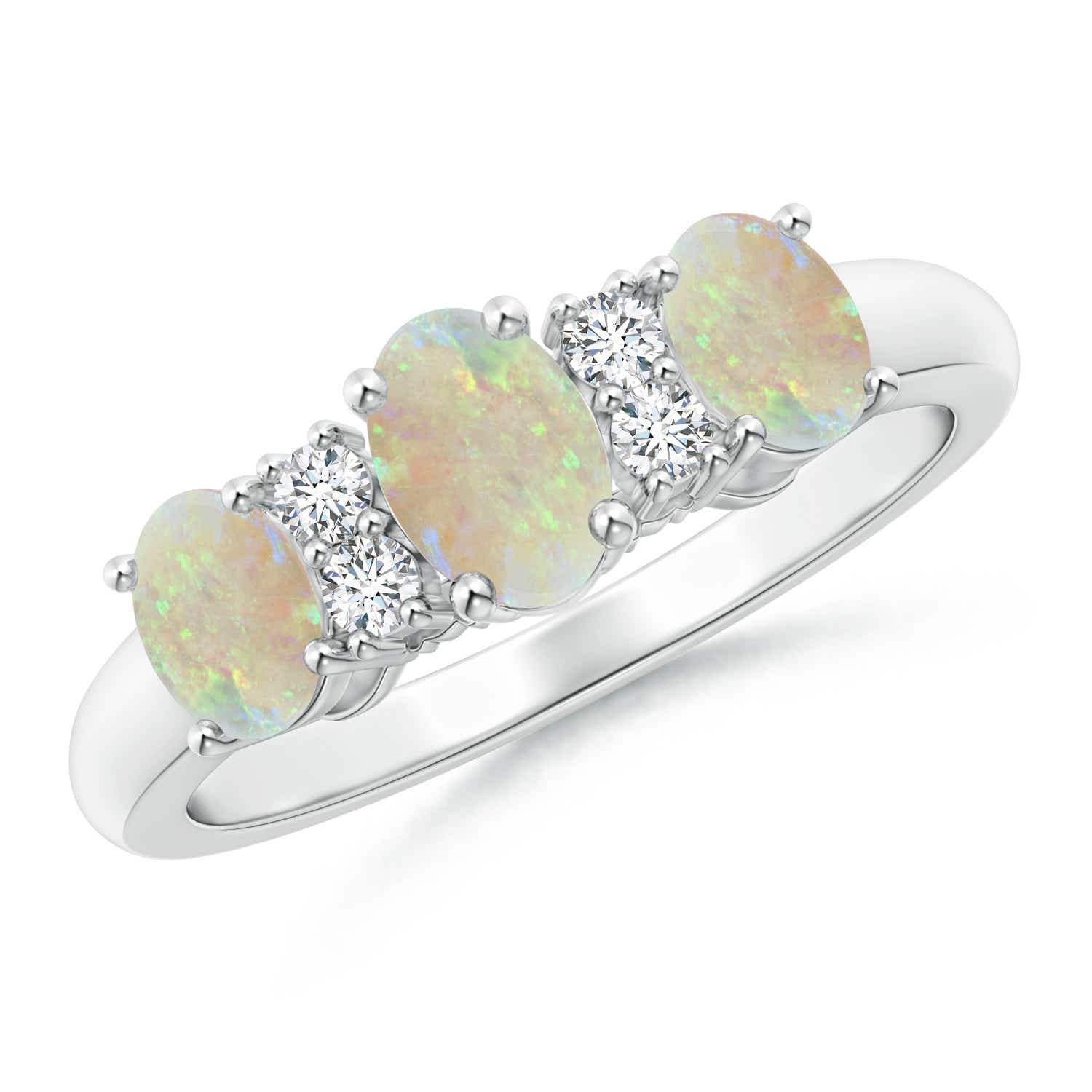 Oval Three Stone Opal Engagement Ring with Diamonds - Angara.com