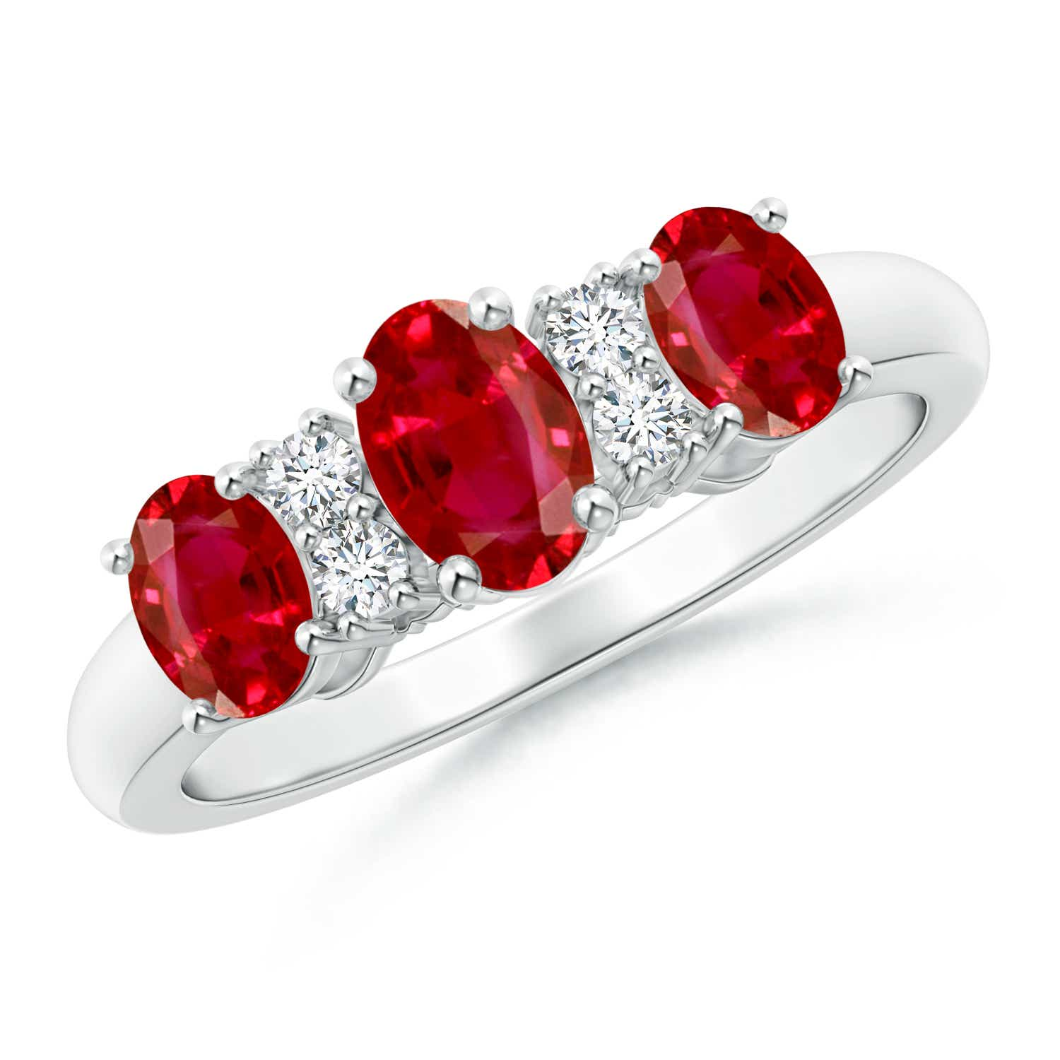 Oval Three Stone Ruby Engagement Ring with Diamonds - Angara.com