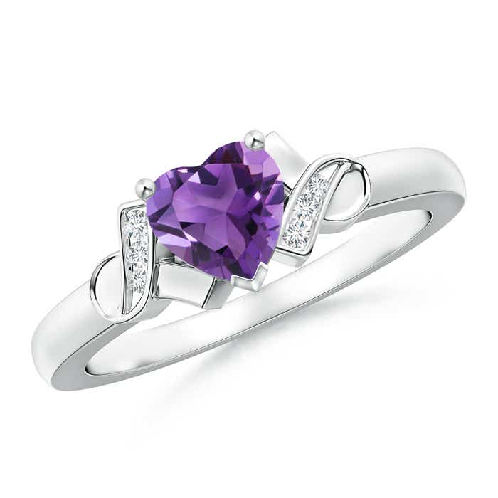 Solitaire Amethyst Heart Ring with Diamond Accents - Angara.com