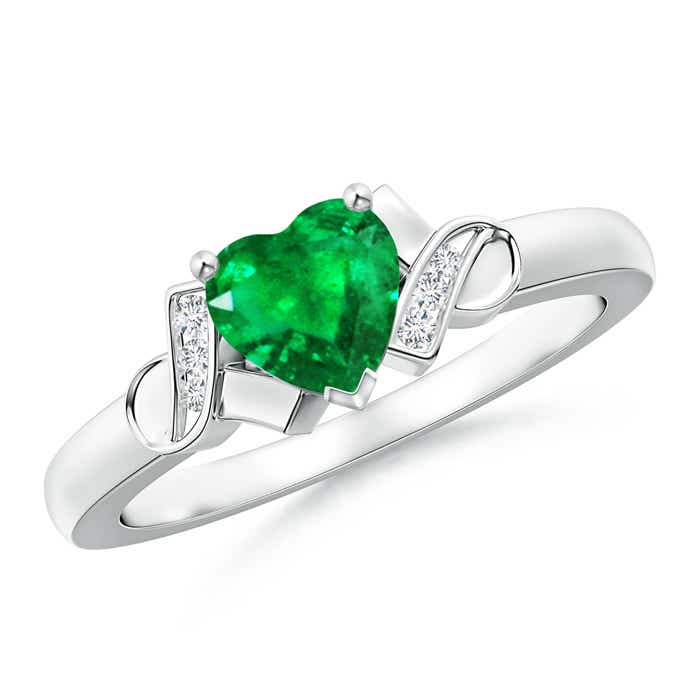 Solitaire Emerald Heart Ring with Diamond Accents - Angara.com