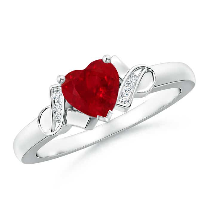 Solitaire Ruby Heart Ring with Diamond Accents - Angara.com