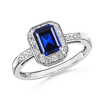 Emerald Cut Lab Created Sapphire Ring with Diamond Halo - Angara.com
