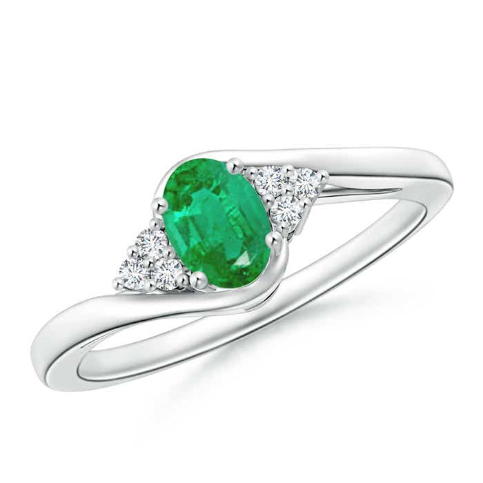 Angara Oval Emerald Bypass Ring with Trio Diamond Accents in 14K Rose Gold qwlMQzU