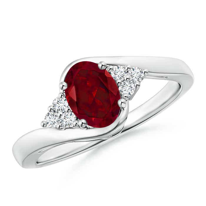Oval Garnet Bypass Ring with Trio Diamond Accents - Angara.com