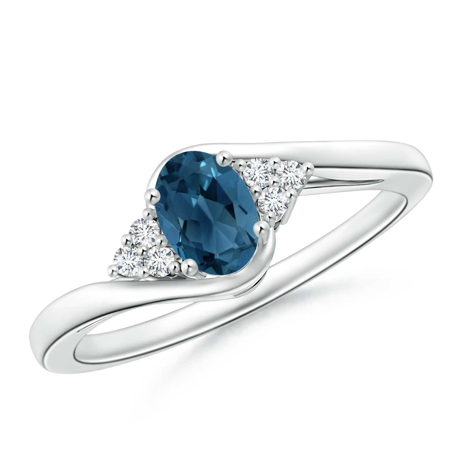 Angara Natural London Blue Topaz Engagement Ring in White Gold M2sG2x0