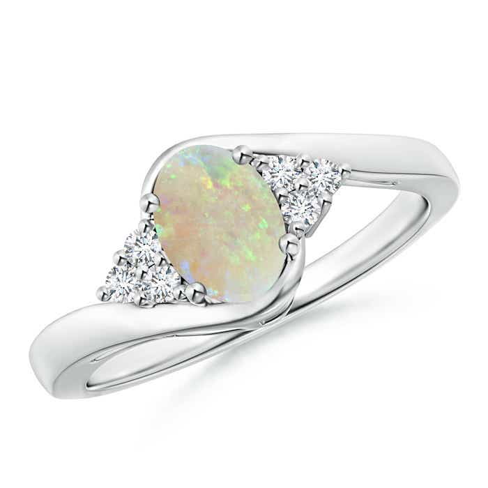 Oval Opal Bypass Ring with Trio Diamond Accents - Angara.com