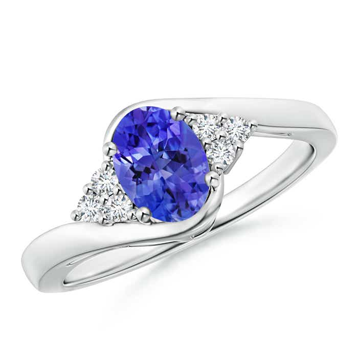 Oval Tanzanite Bypass Ring with Trio Diamond Accents - Angara.com