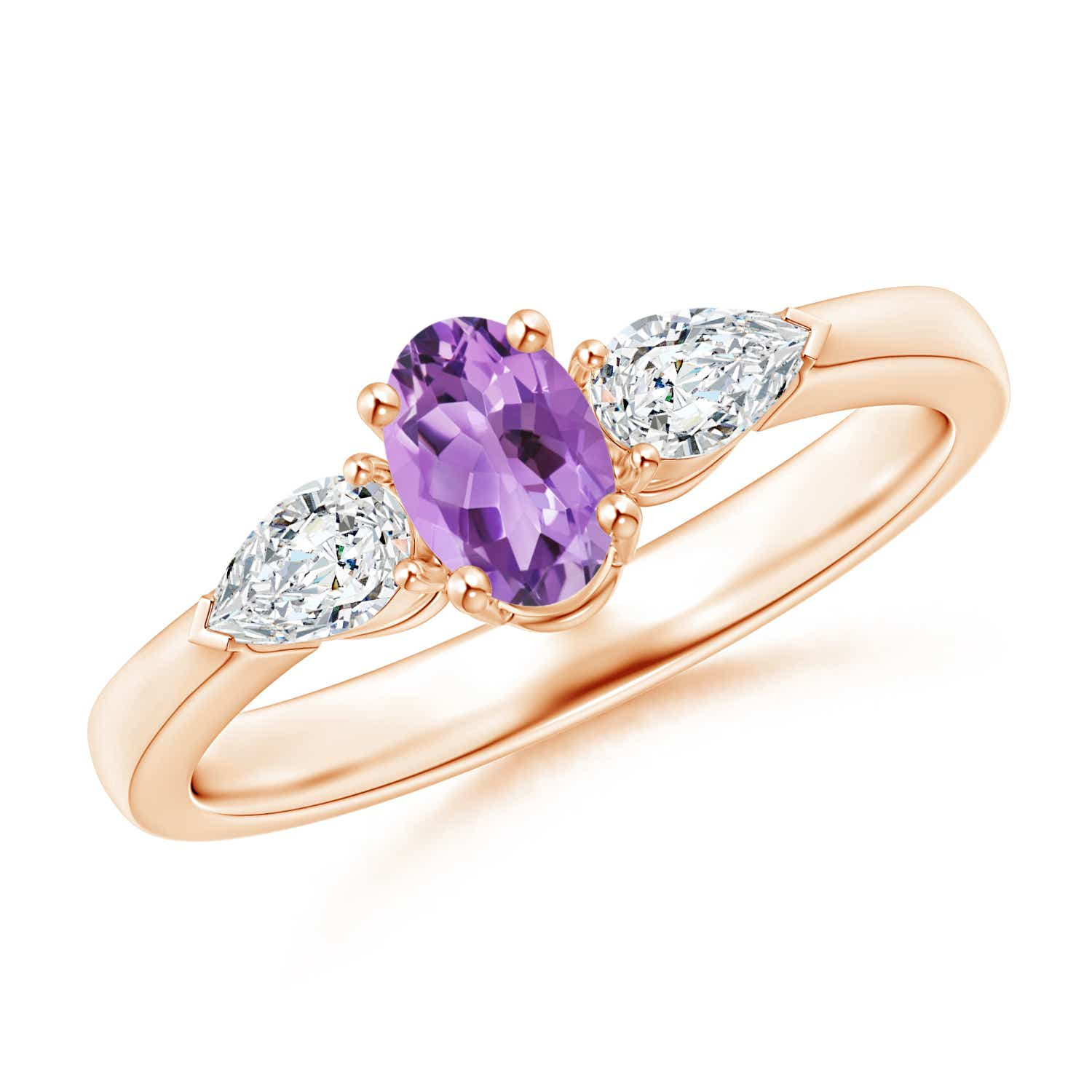 Angara Natural Amethyst and Diamond Three Stone Ring in White Gold