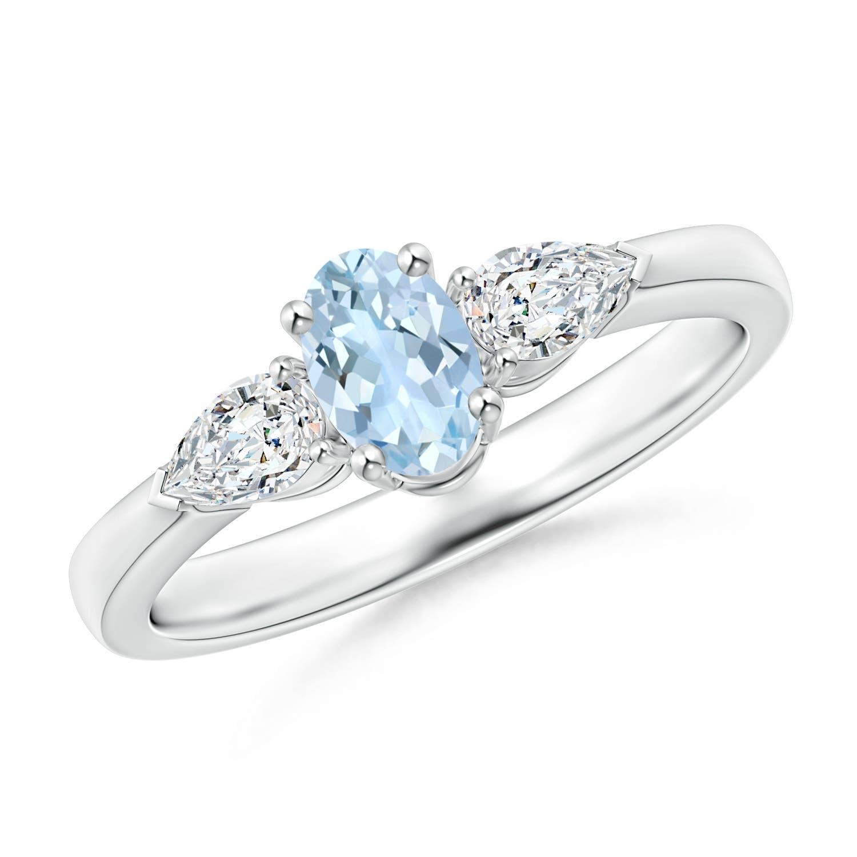 Angara Four Prong Three Stone Oval Aquamarine and Diamond Ring 5a52P3tct