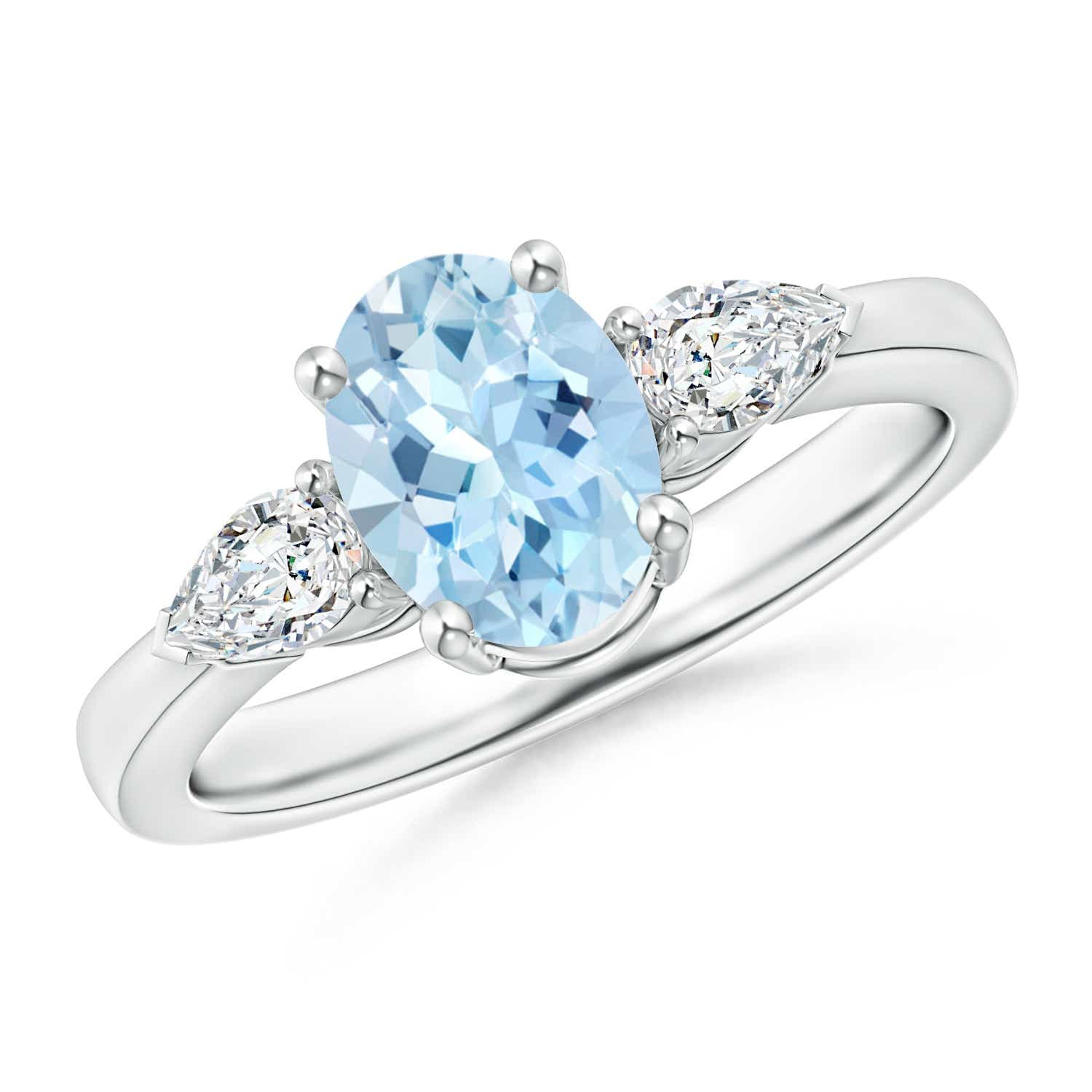 Four Prong Three Stone Oval Aquamarine and Diamond Ring - Angara.com