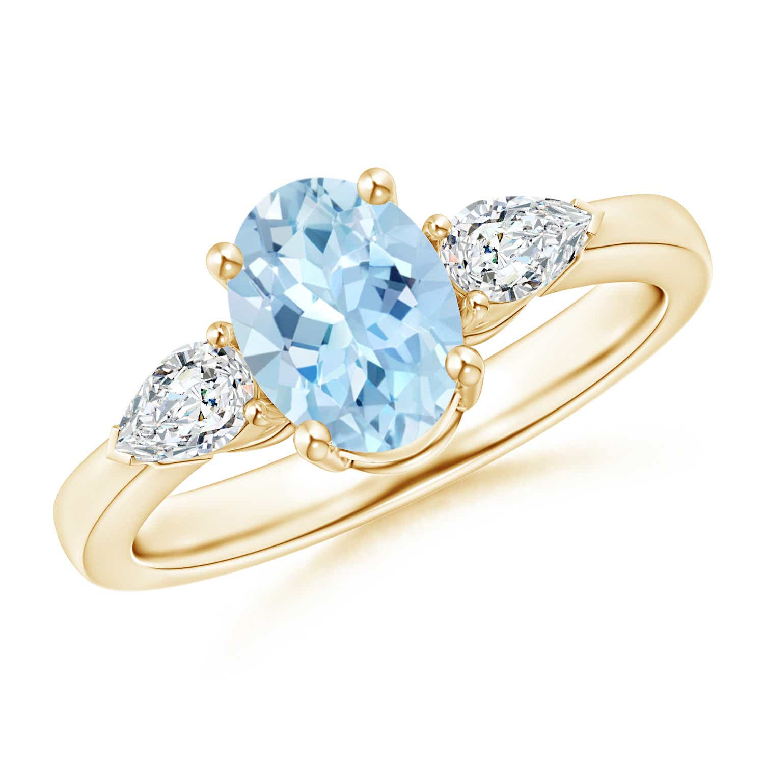 Angara Natural Aquamarine Three Stone Ring in 14k White Gold