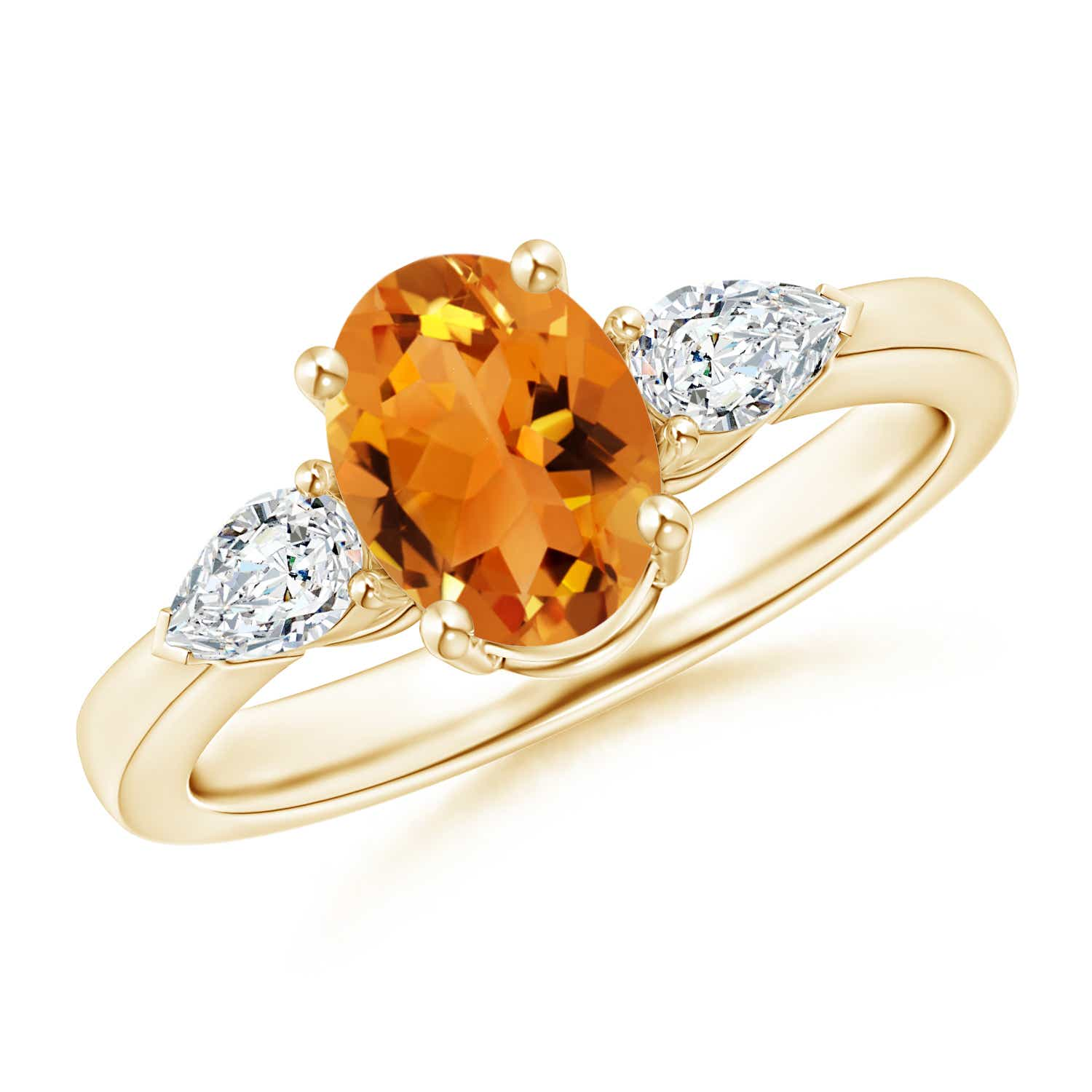 Angara Four Prong Three Stone Oval Citrine and Diamond Ring in Yellow Gold ETWVWyO