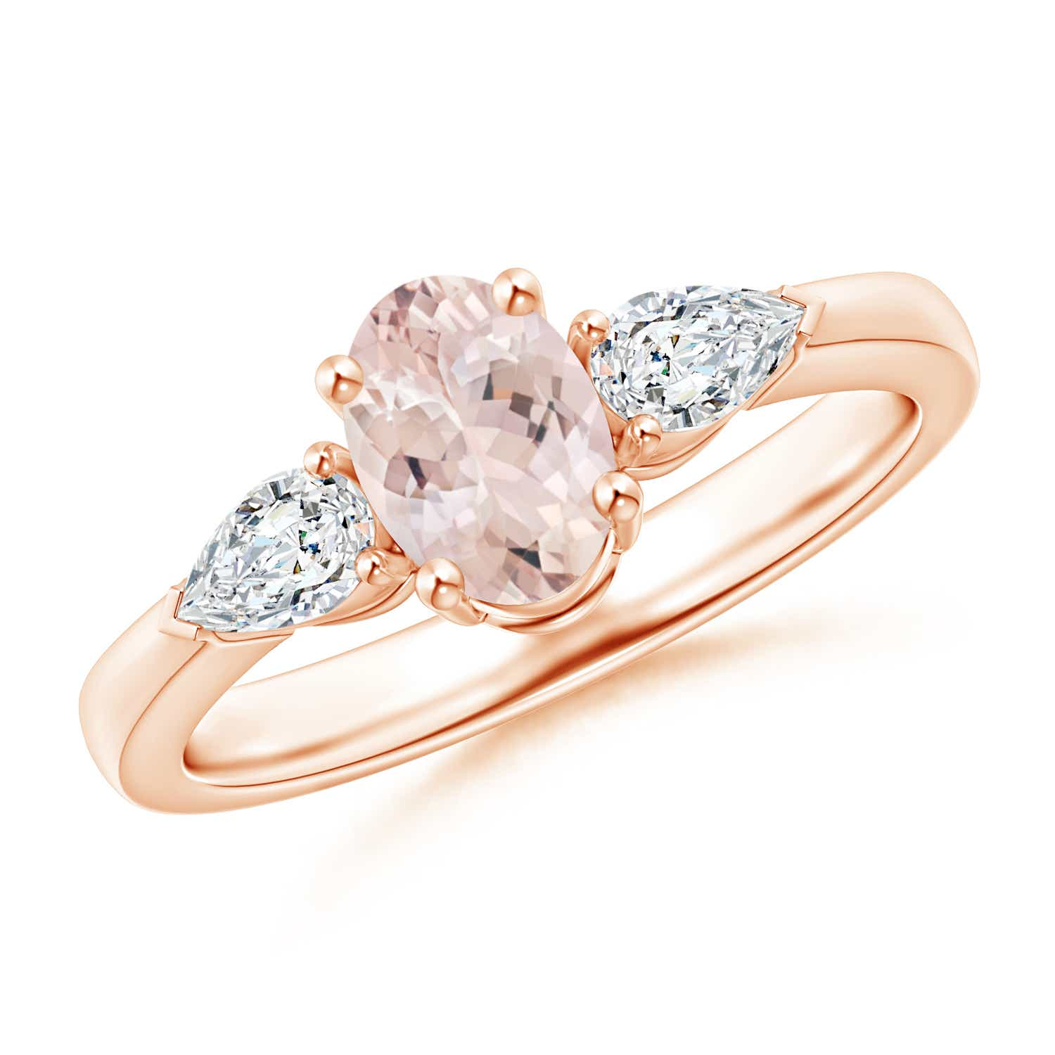 Angara Three Stone Morganite Diamond Ring in White Gold Eki3e0MDZP