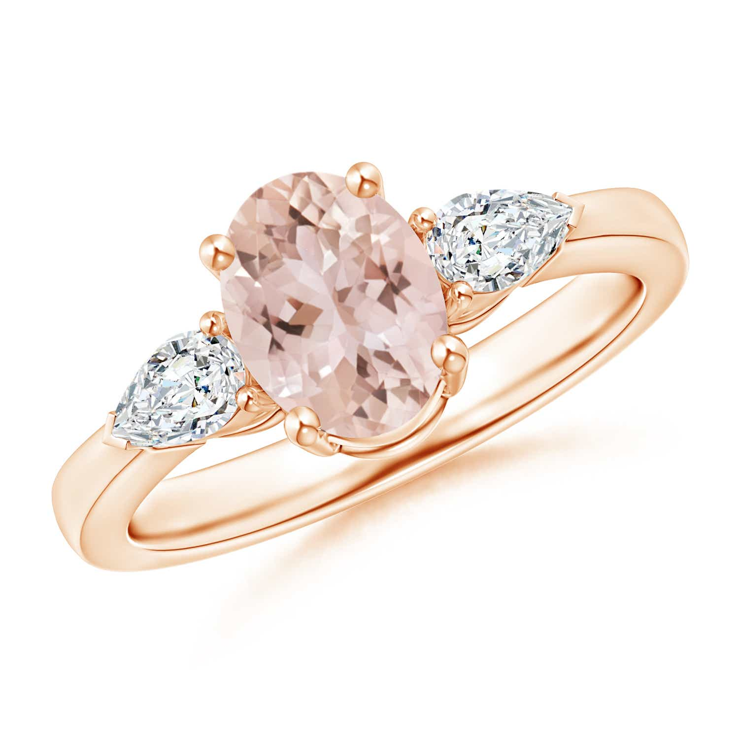 Angara Four Prong Three Stone Oval Morganite and Diamond Ring Y5gQgPoULR