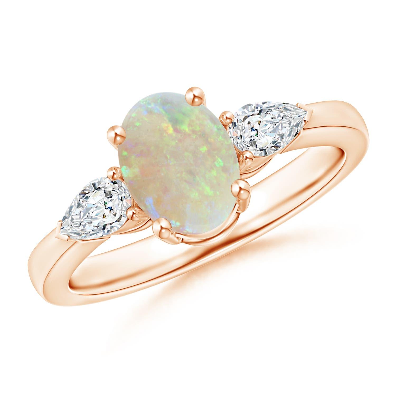 Four Prong Three Stone Oval Opal and Diamond Ring - Angara.com