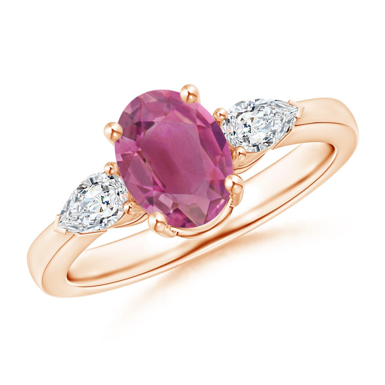 Four Prong Three Stone Oval Pink Tourmaline and Diamond Ring - Angara.com