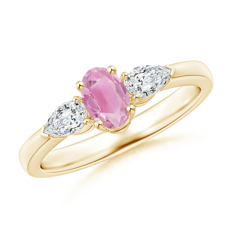 Angara Natural Pink Tourmaline and Diamond Three Stone Ring in Yellow Gold SCIvjLzJZ