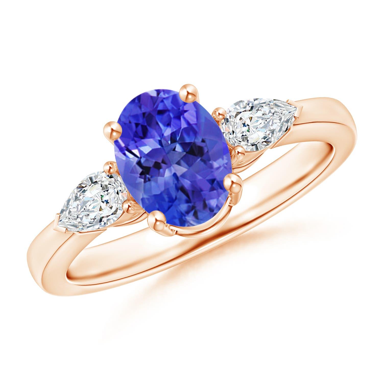 Angara Diamond Halo Oval Tanzanite Three Stone Engagement Ring in Yellow Gold klFEb