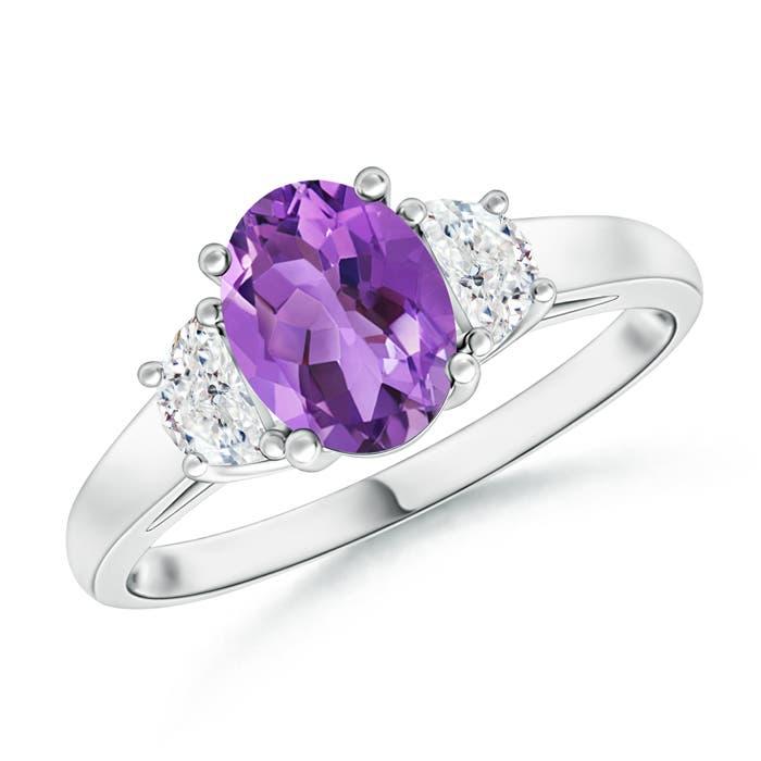 Angara Natural Amethyst Ring with Matching Diamond Band in Platinum 0orq8