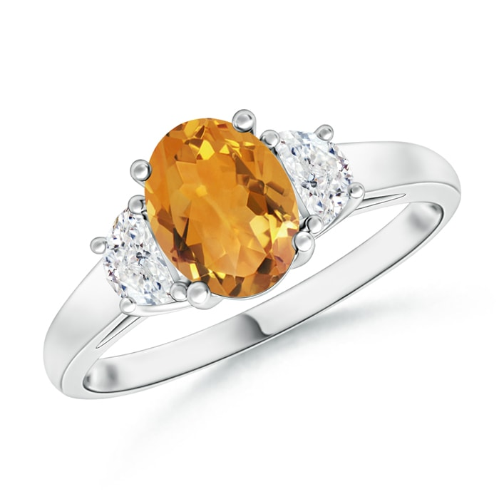 Angara Oval Citrine and Diamond Three Stone Ring in Platinum MaediL0nNP