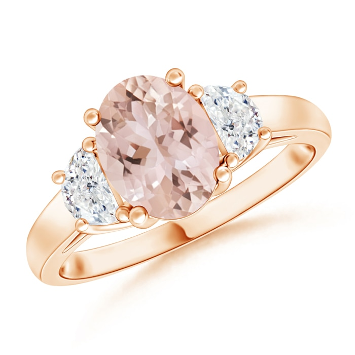 Three Stone Oval Morganite and Half Moon Diamond Ring - Angara.com