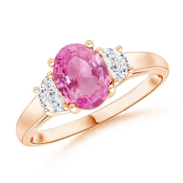 Angara Diamond Natural Pink Tourmaline Three Stone Ring in Rose Gold VZTxjd4Dd