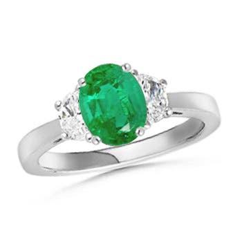 Emerald and Diamond Tapered Shank Three Stone Ring