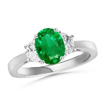 Tapered Shank 3 Stone Oval Emerald and Diamond Ring - Angara.com