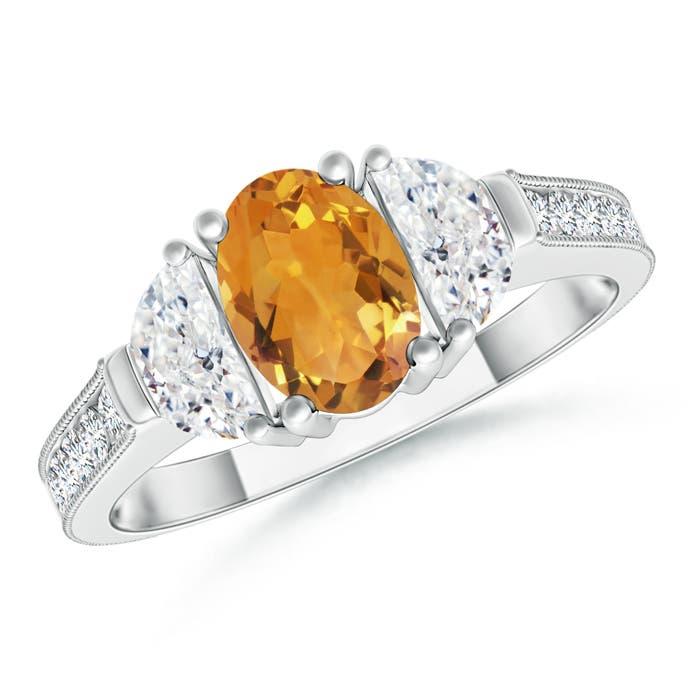 Angara Three Stone Citrine and Diamond Ring in 14K Rose Gold qZKYaJ