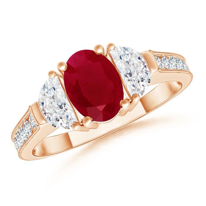 Oval Ruby and Diamond Half Moon Three Stone Ring