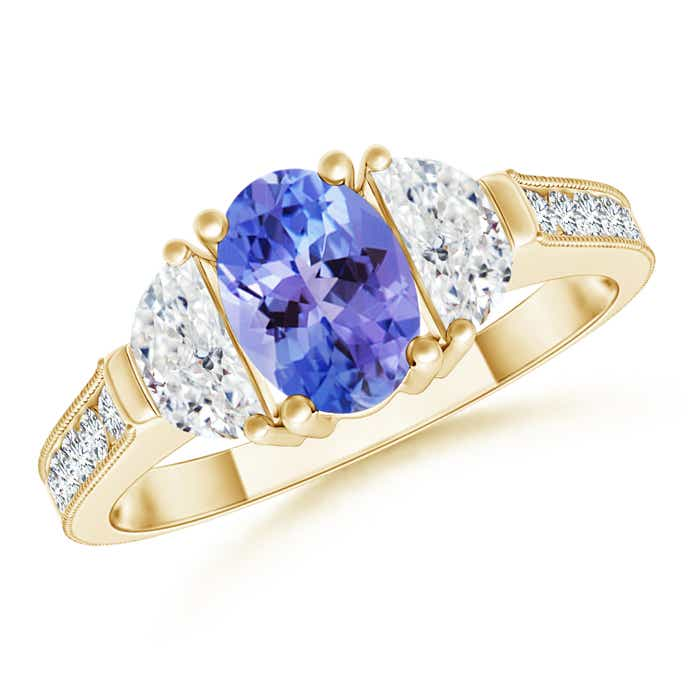Angara Three Stone Oval Tanzanite and Half Moon Diamond Ring in White Gold stTqUsQm