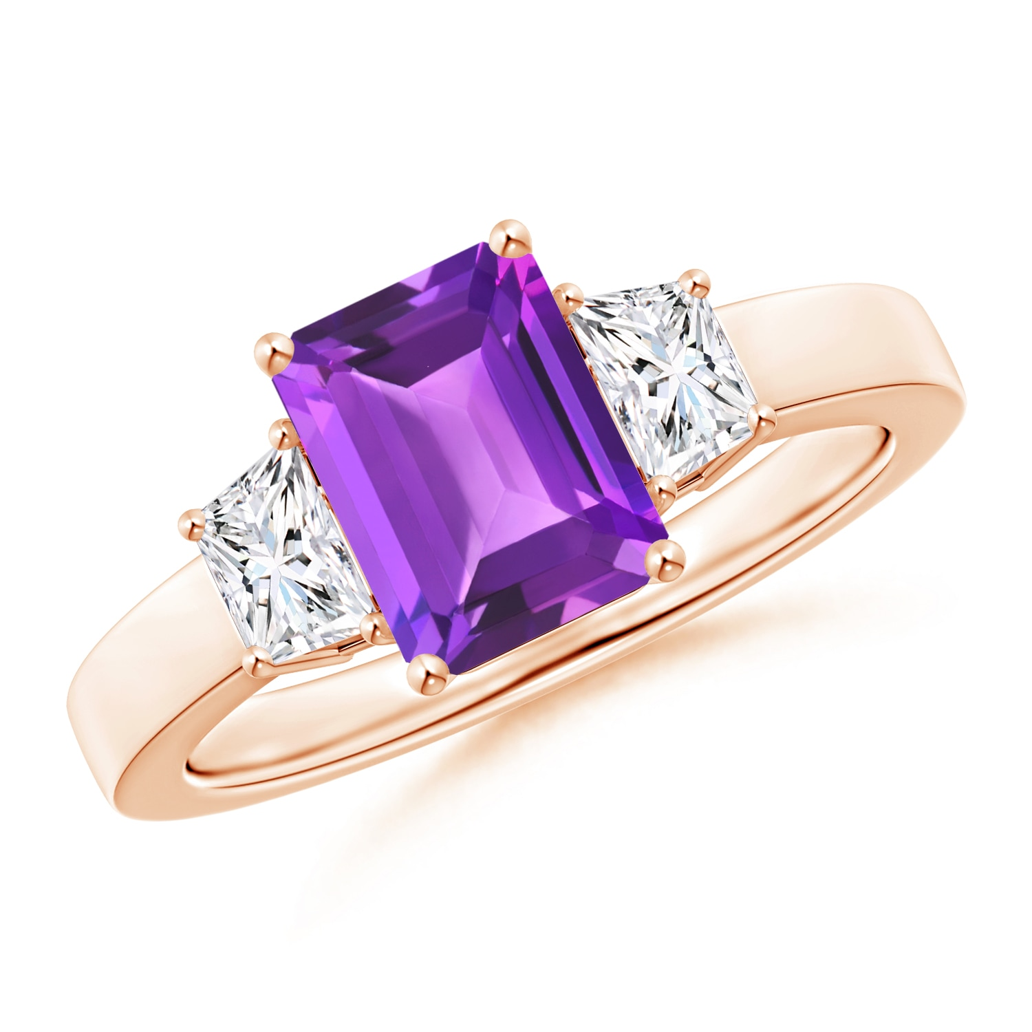 Angara Emerald-Cut Amethyst and Diamond Three Stone Ring in Platinum sdt4PWF1jR