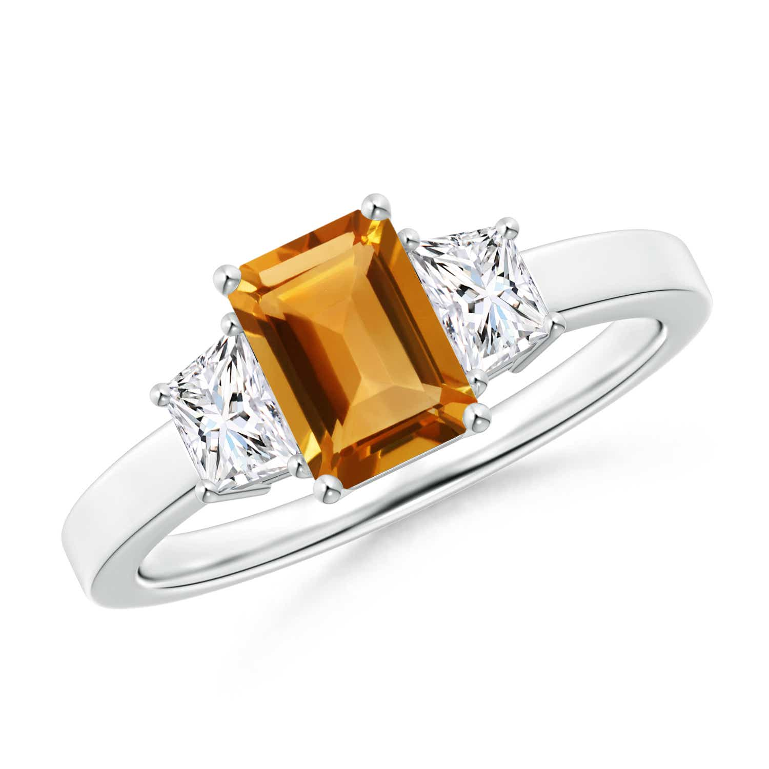 Angara Emerald-Cut Citrine Cocktail Ring in Rose Gold kWwVAv