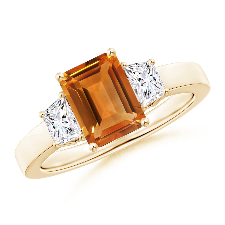 Emerald Cut Citrine and Diamond Three Stone Ring - Angara.com