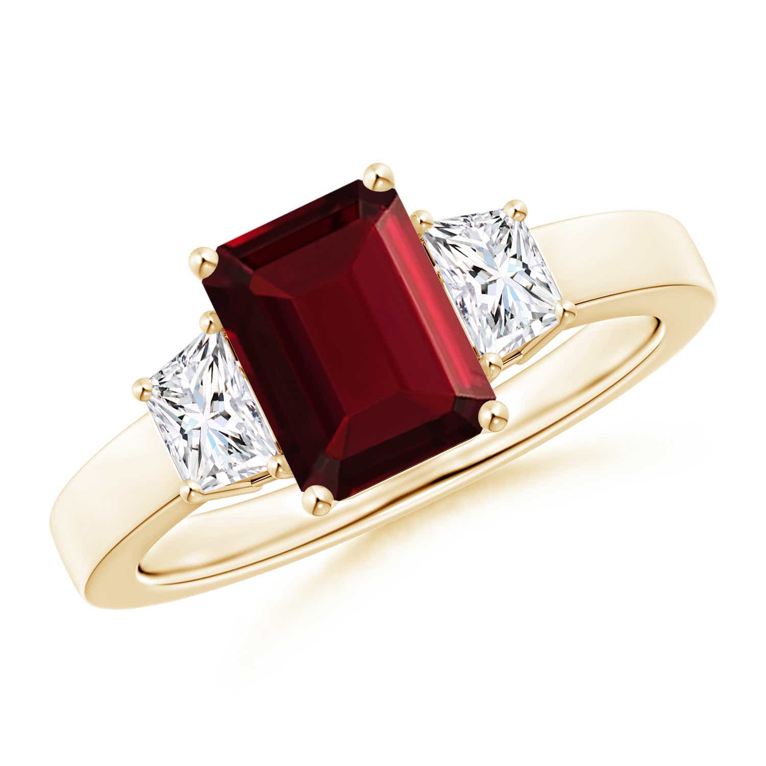 Emerald Cut Garnet and Diamond Three Stone Ring - Angara.com