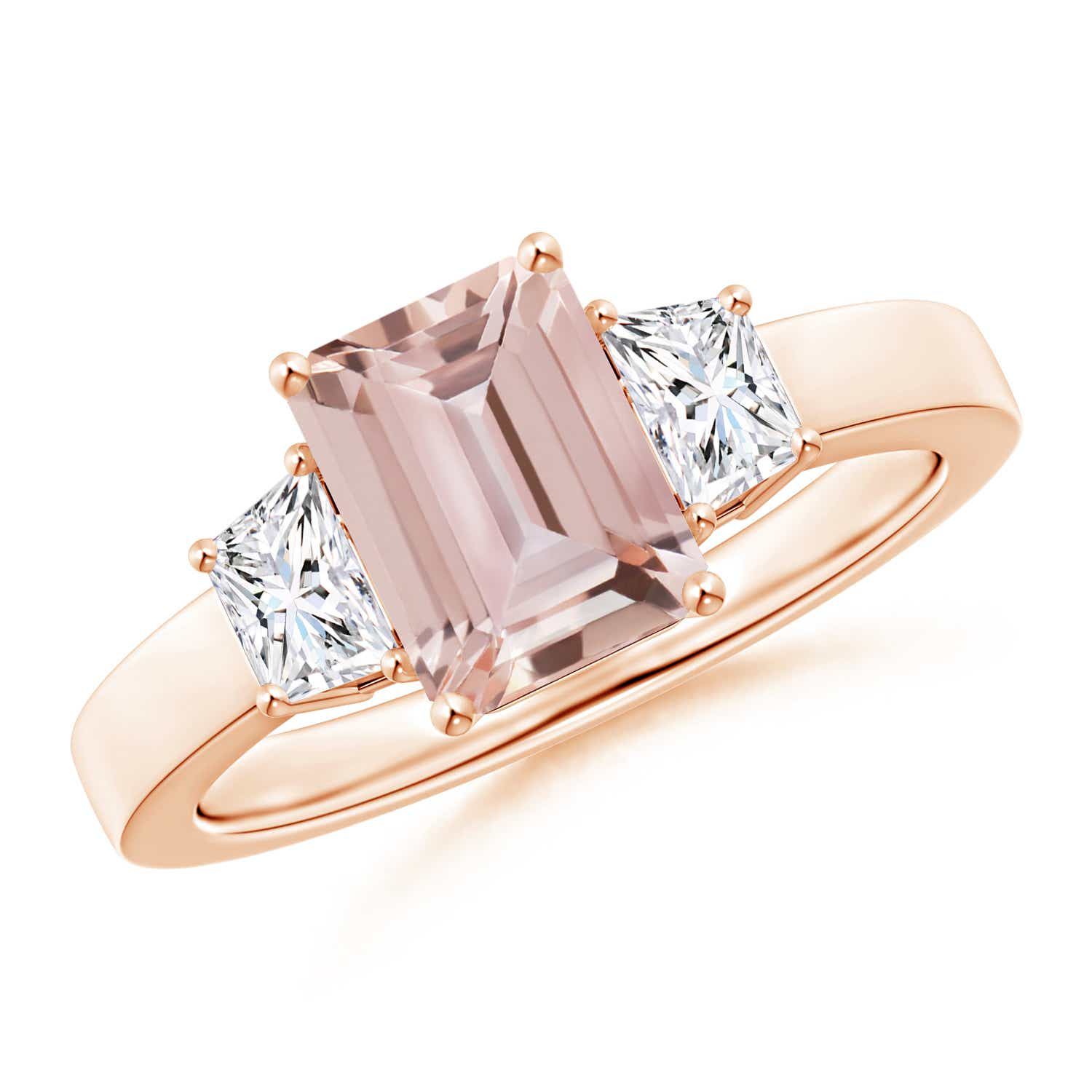 Angara Emerald-Cut Garnet and Trapezoid Diamond Three Stone Ring in Rose Gold
