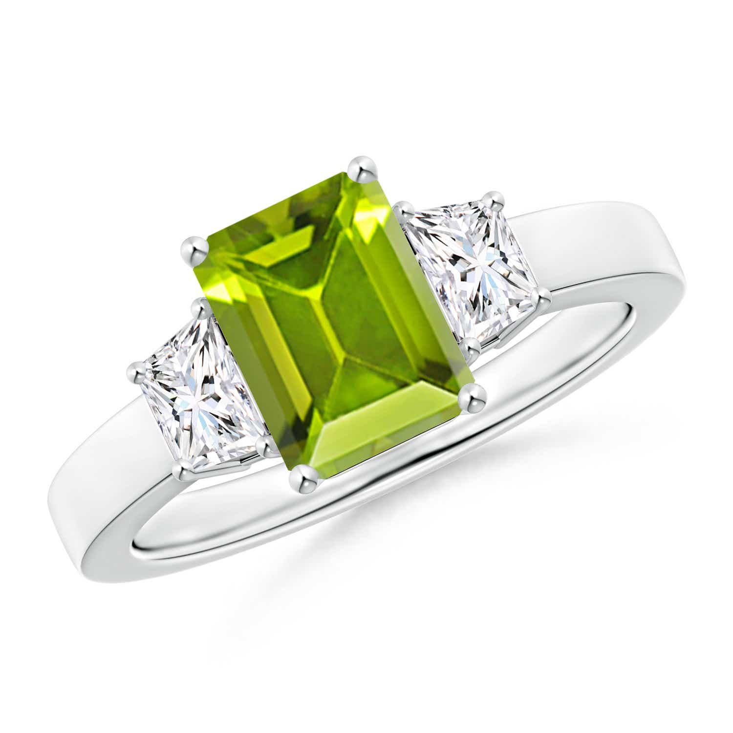 Angara Three Stone Peridot Diamond Ring in Rose Gold