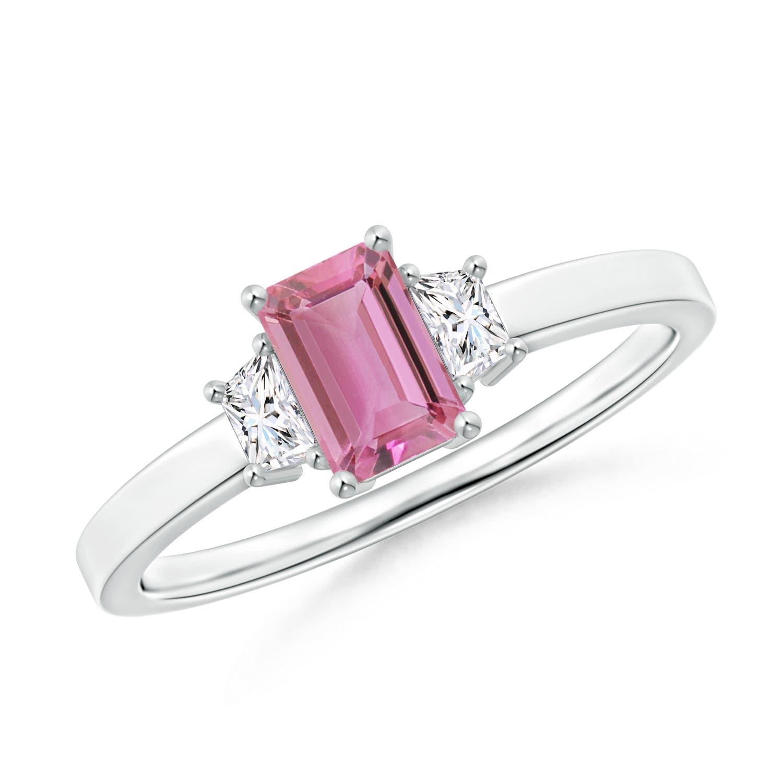 Angara Emerald-Cut Pink Tourmaline and Diamond Three Stone Ring in White Gold VwFET3A9GB
