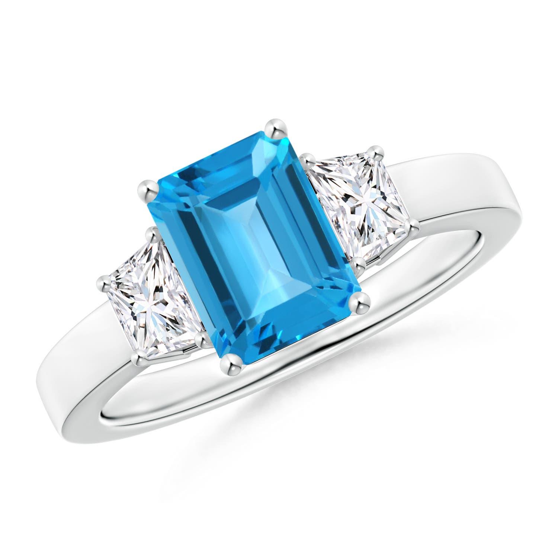 Emerald Cut Swiss Blue Topaz and Diamond Three Stone Ring - Angara.com