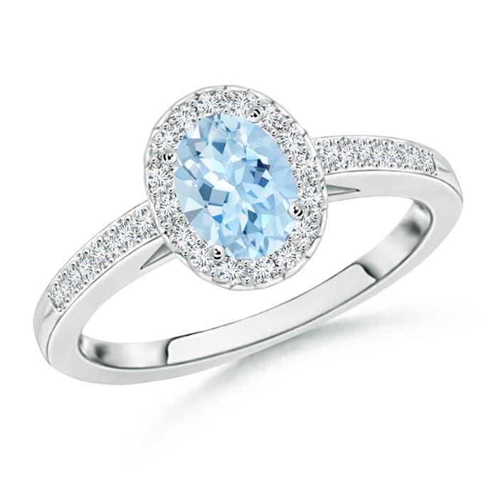 Prong Set Oval Aquamarine Halo Ring with Diamond Accents - Angara.com