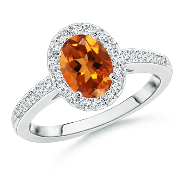 Prong Set Oval Citrine Halo Ring with Diamond Accents